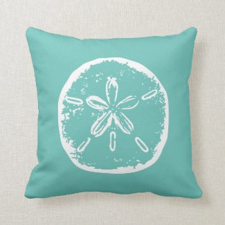 Turquoise sand dollar beach decor throw pillow
