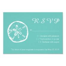 Turquoise sand dollar RSVP beach wedding cards
