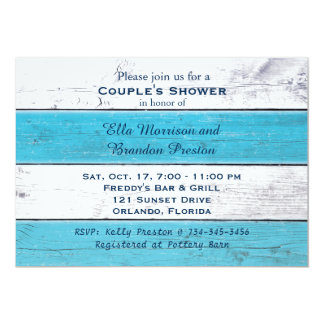 Turquoise Sandy Toes Salty Kisses Couple's Shower Card