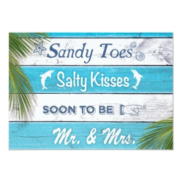 prettyfancyinvites Turquoise Sandy Toes Salty Kisses Engagement Party Card