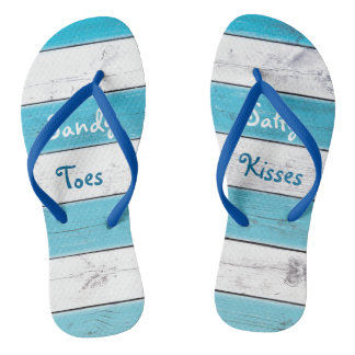 Turquoise Sandy Toes Salty Kisses Flip Flops