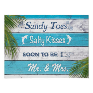 Turquoise Sandy Toes Salty Kisses Mr & Mrs Poster
