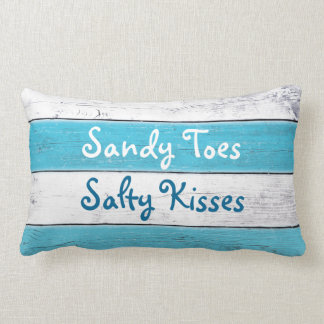 Turquoise Sandy Toes Salty Kisses Pillow