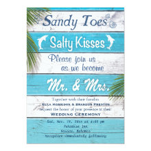 Turquoise Sandy Toes Salty Kisses Wedding Invite