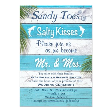 prettyfancyinvites Turquoise Sandy Toes Salty Kisses Wedding Invite