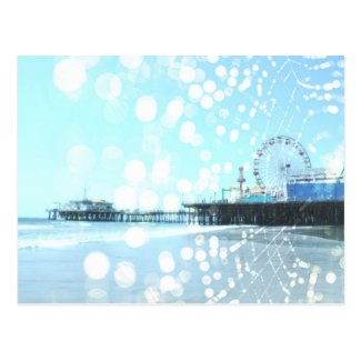 Turquoise Santa Monica Pier Spiderweb Postcard