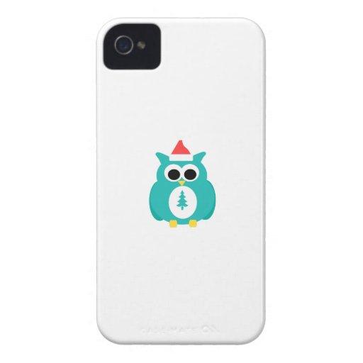 Turquoise santa owl Case-Mate iPhone 4 case