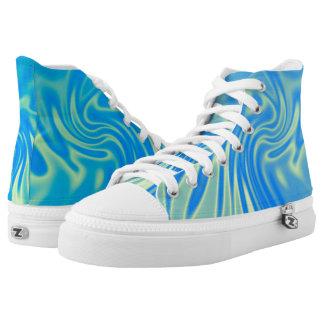 Turquoise Satin Hi Top Printed Shoes