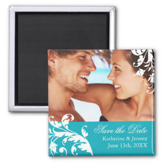 Turquoise Save the Date Wedding Magnet