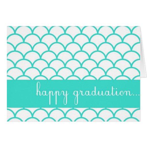Turquoise Scallop Edge Happy Graduation Card