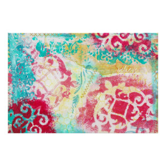 Turquoise & Scarlet Mixed Media Painting with Word Print