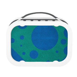 Turquoise Scattered Spots on Blue Leather Texture Yubo Lunchbox