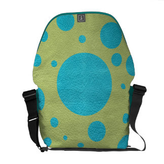 Turquoise Scattered Spots on Lime Leather Texture Messenger Bag
