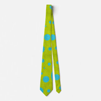 Turquoise Scattered Spots on Lime Leather Texture Tie