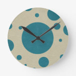 Turquoise Scattered Spots on Stone Leather Texture Wallclocks