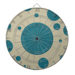 Turquoise Scattered Spots on Stone Leather Texture Dartboard With Darts