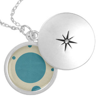 Turquoise Scattered Spots on Stone Leather Texture Locket Necklace