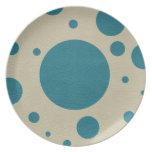 Turquoise Scattered Spots on Stone Leather Texture Dinner Plates