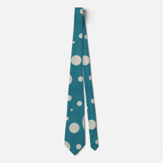 Turquoise Scattered Spots on Stone Leather Texture Tie