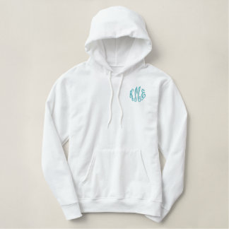 Turquoise Script Embroidered Monogram Embroidered Hoodie