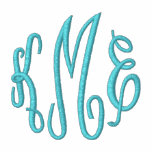 Turquoise Script Embroidered Monogram Embroidered Hooded Sweatshirts
