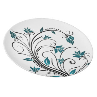 Turquoise Scrolling Vines Dinner Plate
