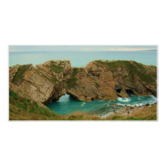 Turquoise Sea at Lulworth Cove, Dorset Poster
