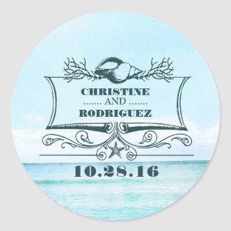 Turquoise Sea Beach Wedding Classic Round Sticker