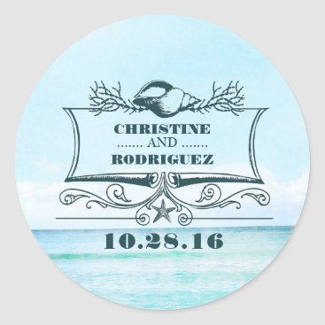 Beach Themed Turquoise Sea Beach Wedding Classic Round Sticker