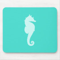 Turquoise Sea Horse Mouse Pad
