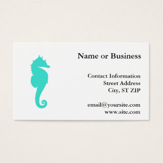 Turquoise Sea Horse on White Business Card