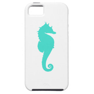 Turquoise Sea Horse on White iPhone 5 Cases