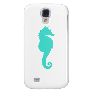 Turquoise Sea Horse on White Samsung Galaxy S4 Case