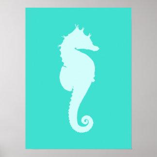 Turquoise Sea Horse Print