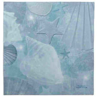 Turquoise Sea Shell Custom Cotton Napkins
