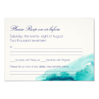 Turquoise Sea Teal Watercolor Wedding RSVP Card