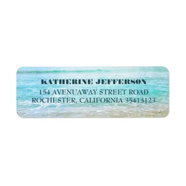 Beach Themed Turquoise Sea Waves Beach Wedding Label