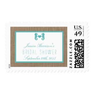 Turquoise Seahorse Beach Bridal Shower Postage