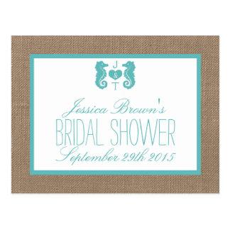 Turquoise Seahorse Beach Bridal Shower Recipe Card