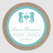 Turquoise Seahorse Beach Bridal Shower Stickers