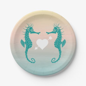 Beach Themed Turquoise Seahorse Blue Peach Beach Wedding Love Paper Plate
