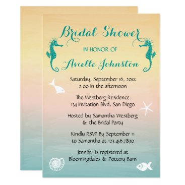 Beach Themed Turquoise Seahorse Blue Pink Sunset Bridal Shower Card