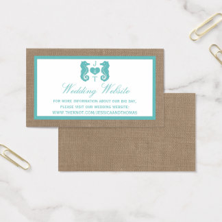 Turquoise Seahorse Burlap Beach Wedding Collection Business Card