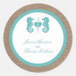 Turquoise Seahorse Burlap Beach Wedding Collection Classic Round Sticker