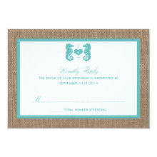 Turquoise Seahorse Burlap Beach Wedding Collection 3.5x5 Paper Invitation Card