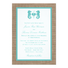 Turquoise Seahorse Burlap Beach Wedding Collection 5x7 Paper Invitation Card
