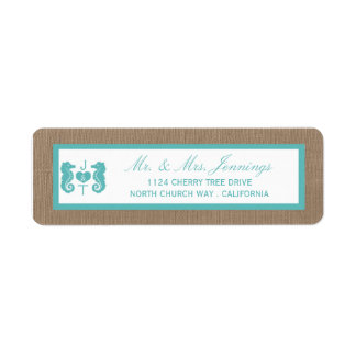 Turquoise Seahorse Burlap Beach Wedding Collection Label