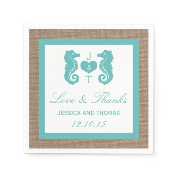 Beach Themed Turquoise Seahorse Burlap Beach Wedding Collection Napkin