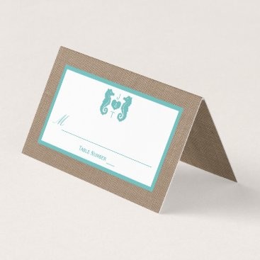 Beach Themed Turquoise Seahorse Burlap Beach Wedding Collection Place Card