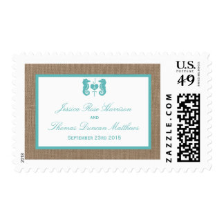 Turquoise Seahorse Burlap Beach Wedding Collection Stamps